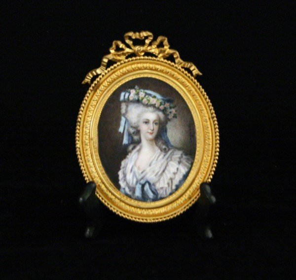 French Miniature Oval Portrait