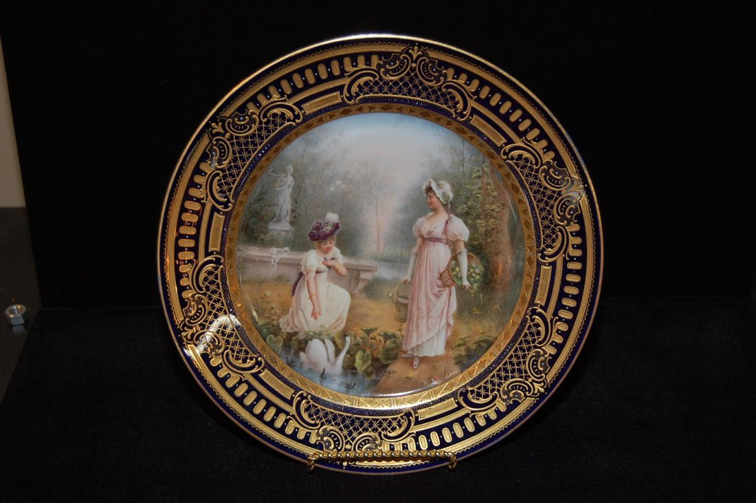 Fine Antique Royal Vienna Gold Overlay Plate