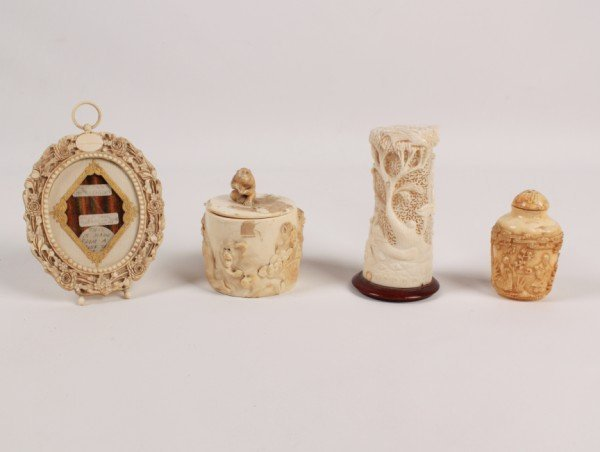 Misc. Group of 4 Pieces of Ivory