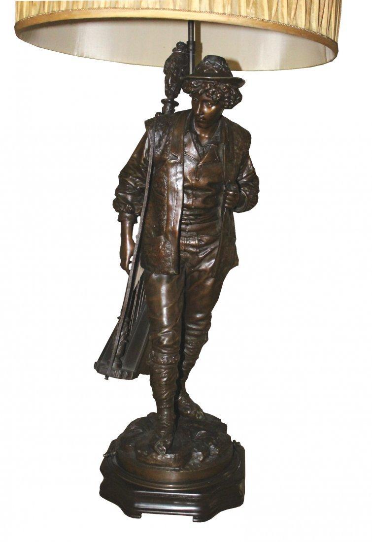 Rare 19th . French Bronze Sculpture of Boy w/ Harp