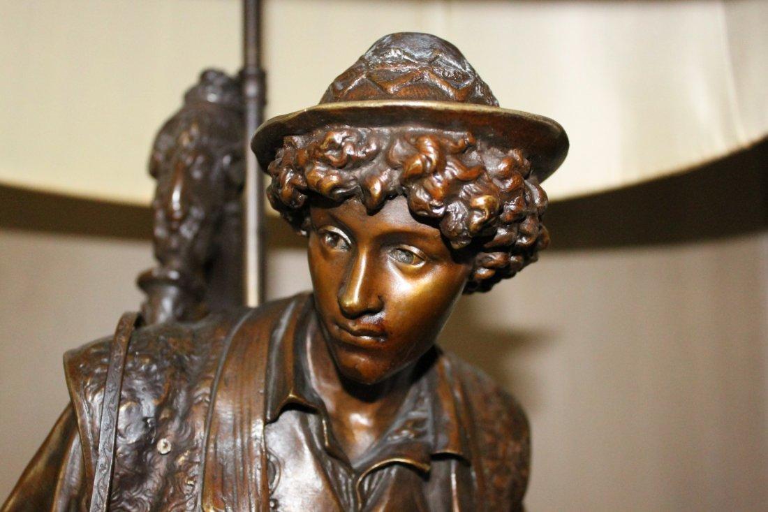 Rare 19th . French Bronze Sculpture of Boy w/ Harp - 2