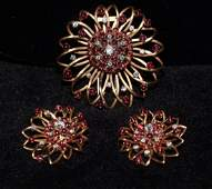 14k Ruby and Diamond Retro Brooch