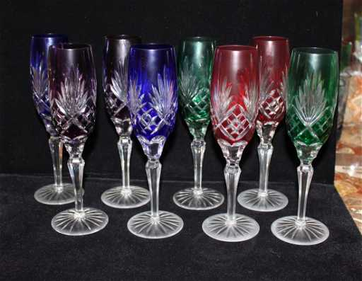 8 Colored Cut Czech Crystal Champagne Flutes