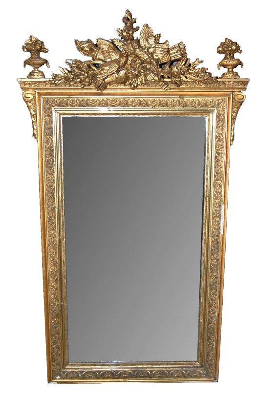 19th c. French Louis XVI Giltwood Mirror