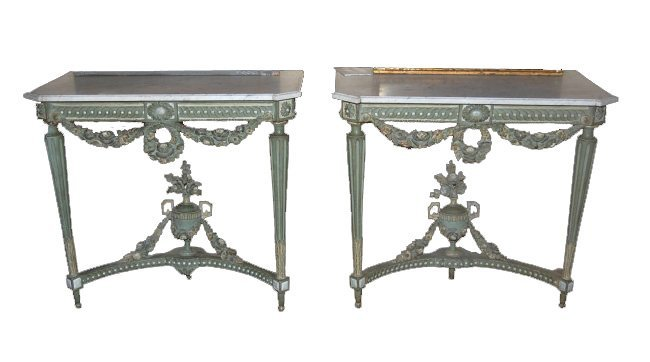 Pair of French Painted Louis XVI Consoles