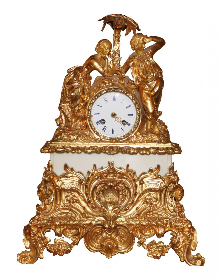 19th c. French Gilt Bronze Figural Mantel Clock