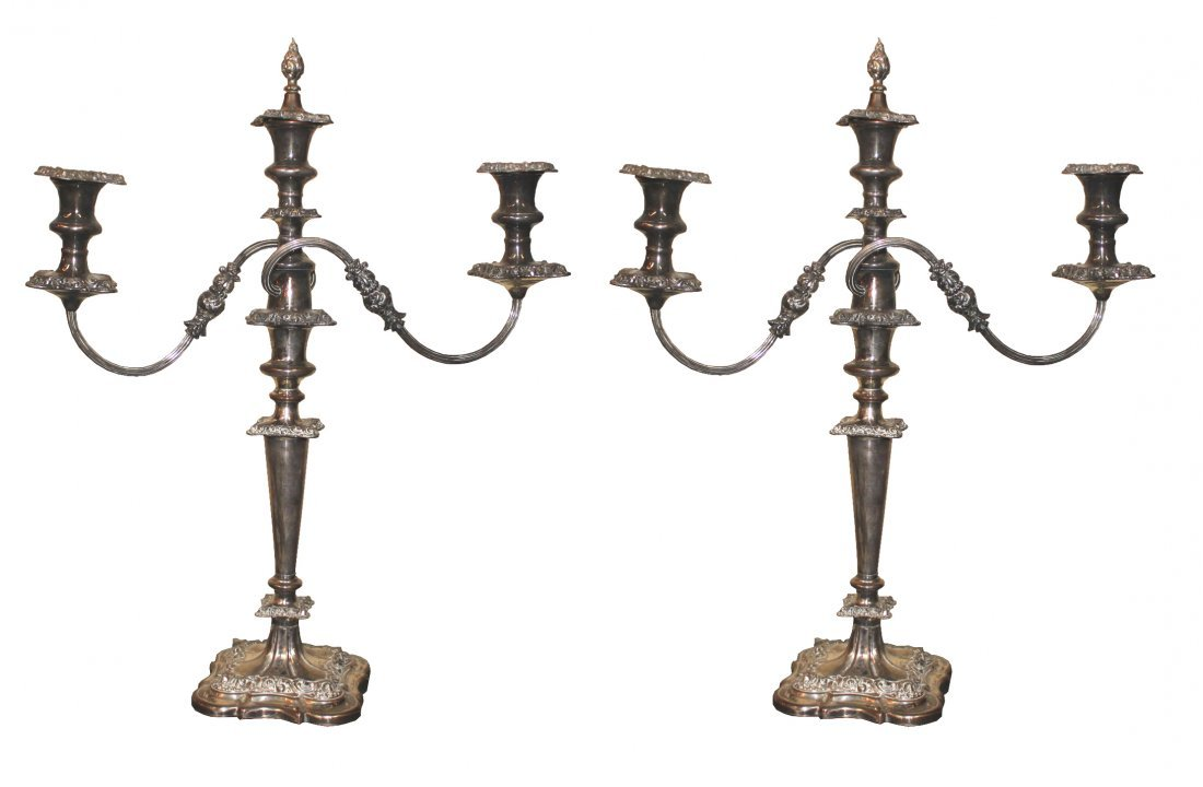Pair of English Silver on Copper Candelabra
