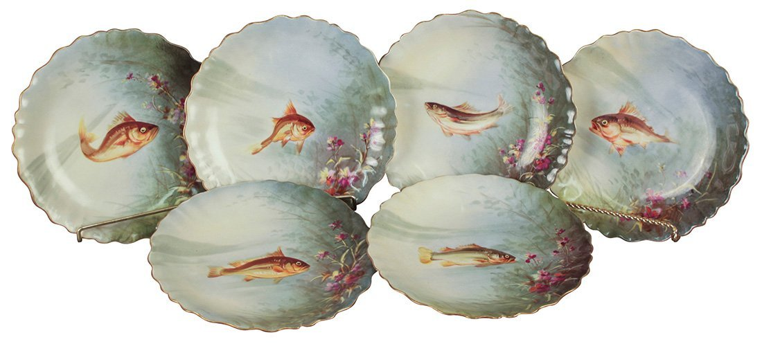 A Set Of 6 Hand-painted Limoges Fish Plates
