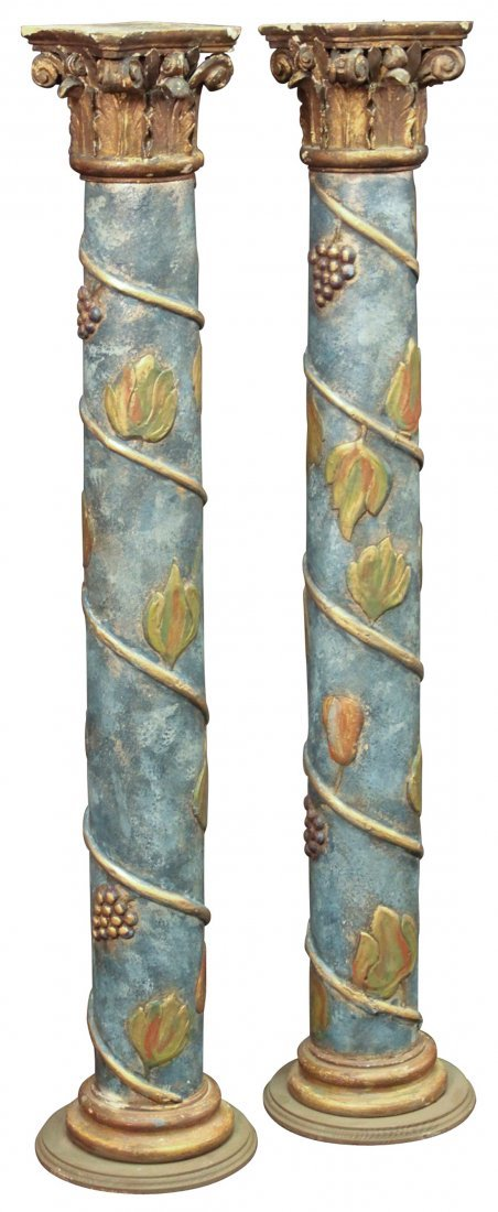 A Pair Of Italian Polychromed Pedestals