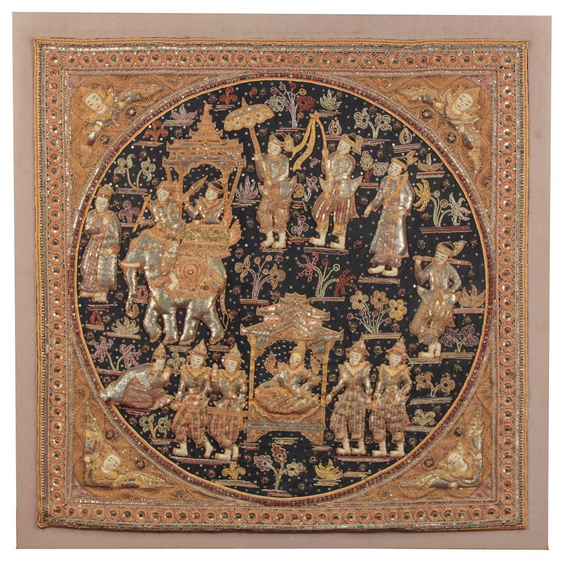 A Large Thai Embrodered Panel