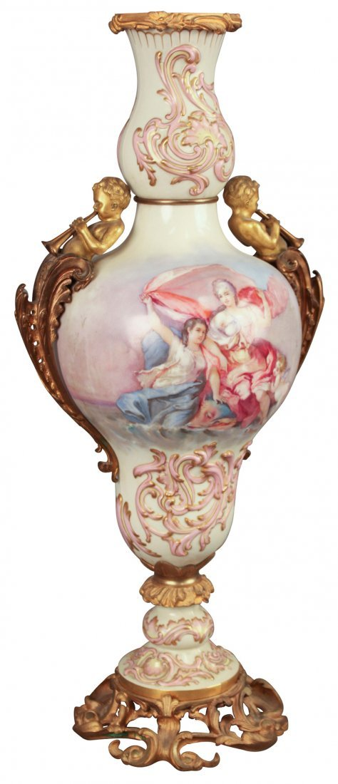 Superb French Hand-painted Vase