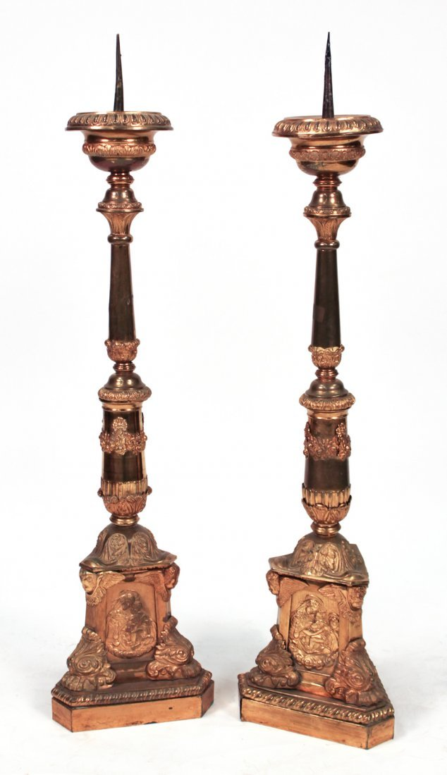 Colossal Pair Of French Brass Altar Sticks,