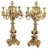 Large Pair Of French Louis Xiv Bronze Candelabra