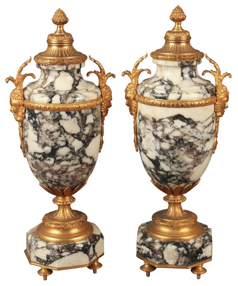 A Pair Of 19th Century French Marble Cassolettes
