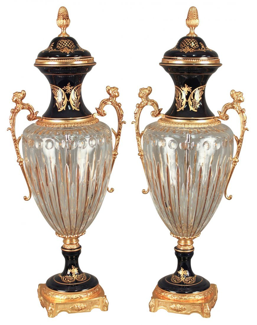 Superb Pair Of Cobalt And Crystal Palace Urns