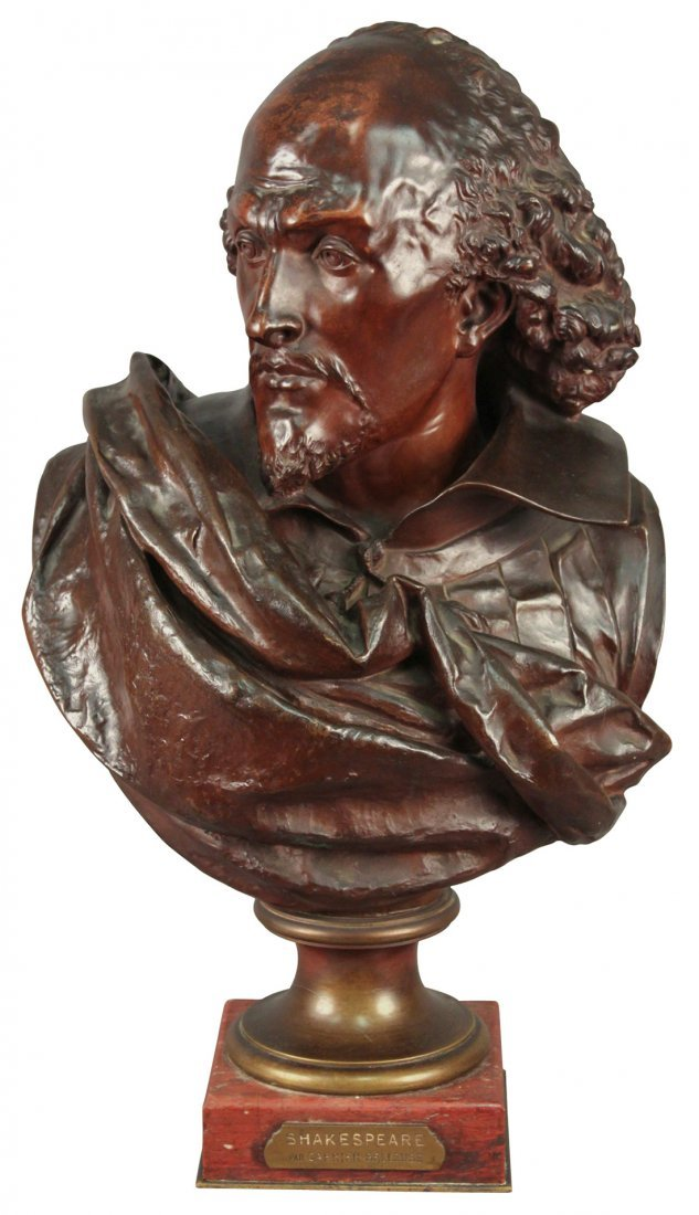 19th c.bronze bust of Shakespeare,