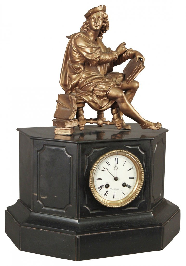 A 19th Century French Black Marble Clock