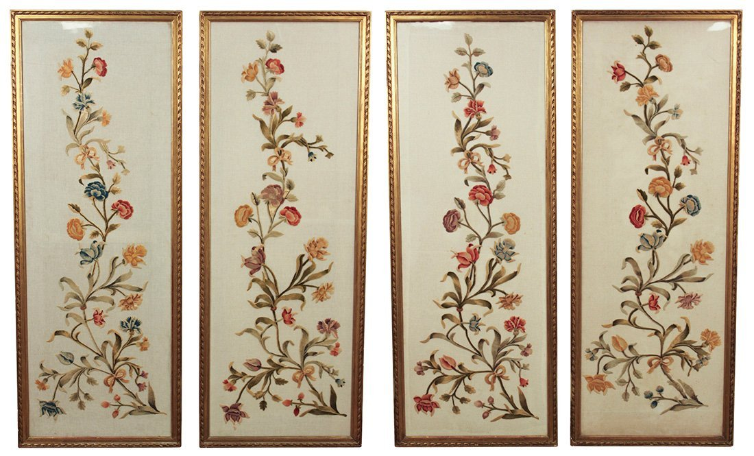 Fine Set Of 4 Silk Embroderied Panels