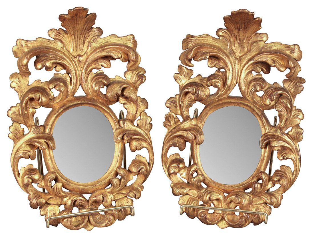 A Pair Of Petite Italian Florentine Gilt Mirrors