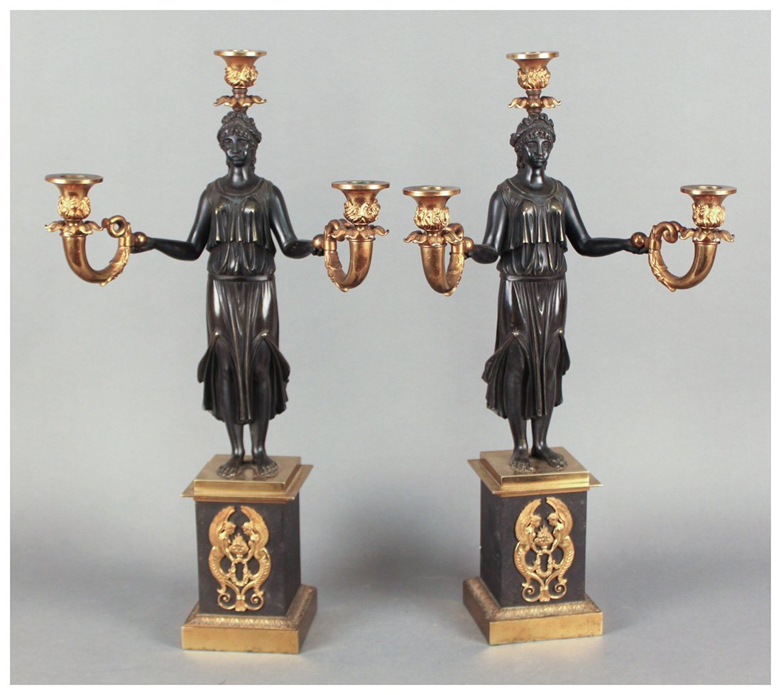 Fine Pair of French Empire Candelabra
