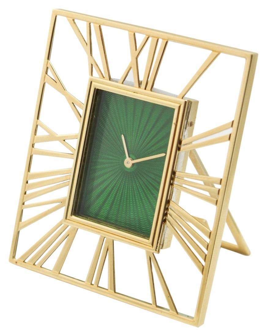 An Asprey Clock, 18k Yellow Gold W/green Dial