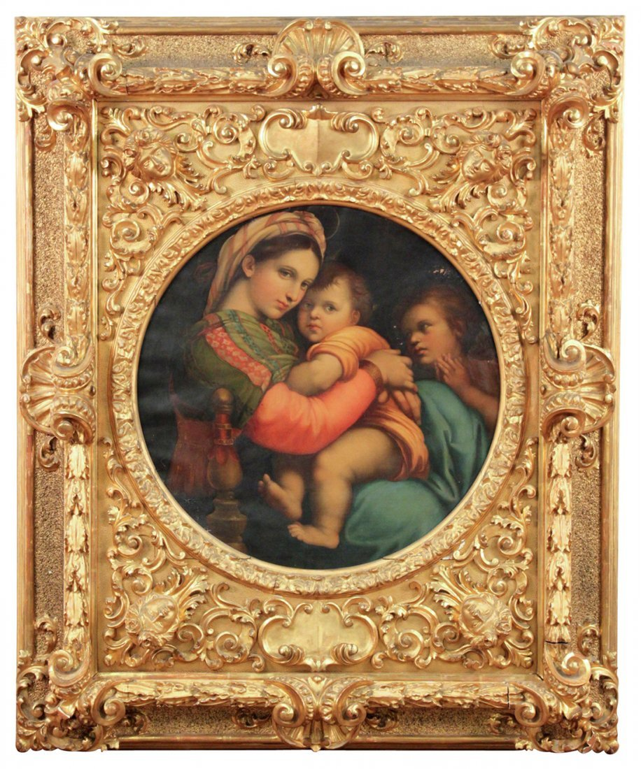 After Raphael Oil On Canvas Madonna And Child