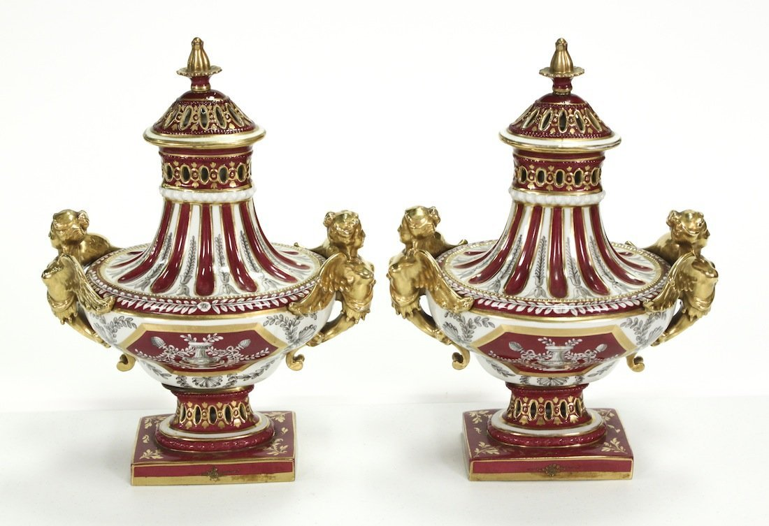 Exquisite Pair Of Gold Overlay French Urns