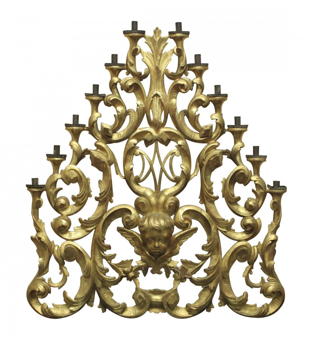 Very Large Italian Carved Gilt-wood Altar Piece