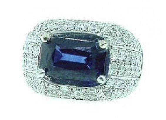 18k Sapphire Diamond Dome Ring