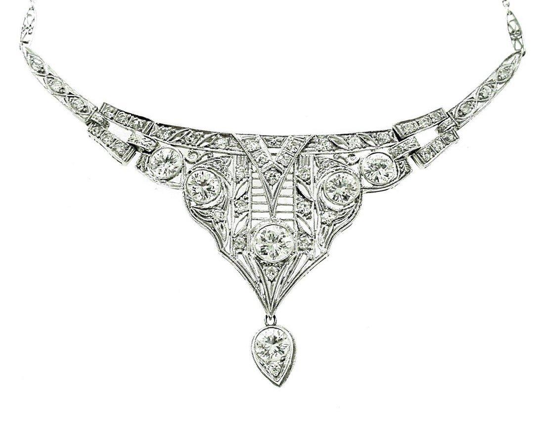 Estate Platinum Diamond Deco Necklace