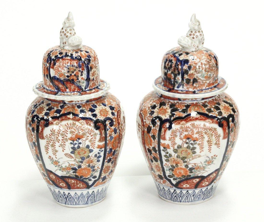 Pair Of 19th C. Japanese Imari Capped Vases