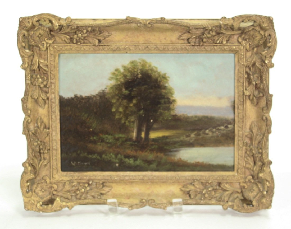 English Oil On Panel Landscape, Signed W Morris