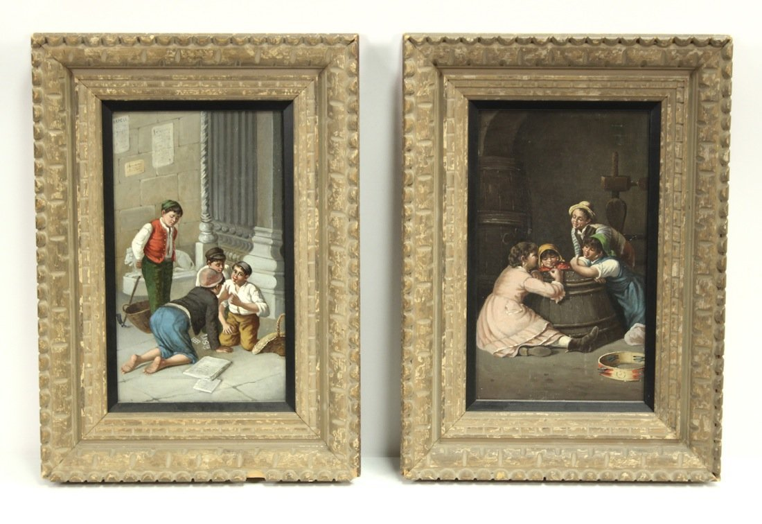 19th century European oil on canvas paintings,