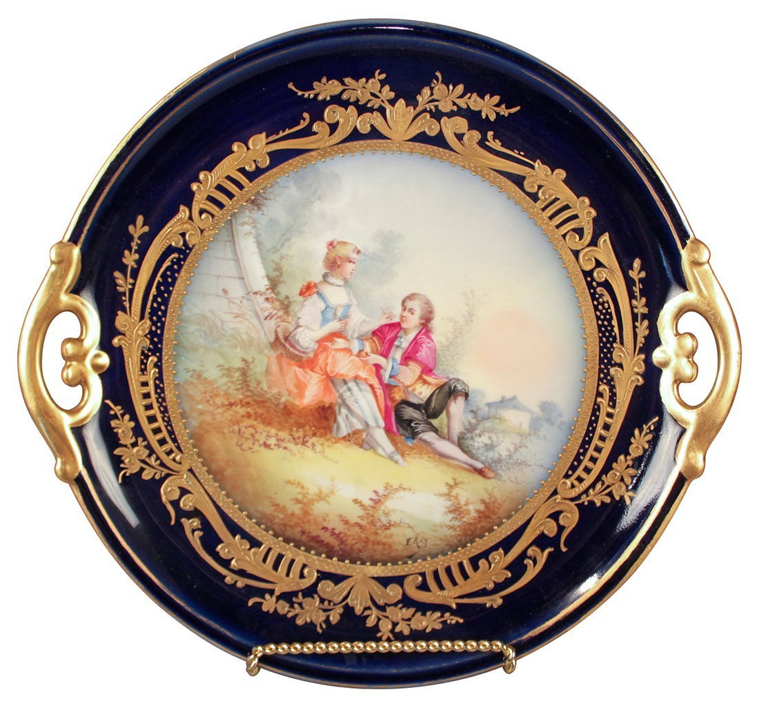French Sevres Cobalt Charger