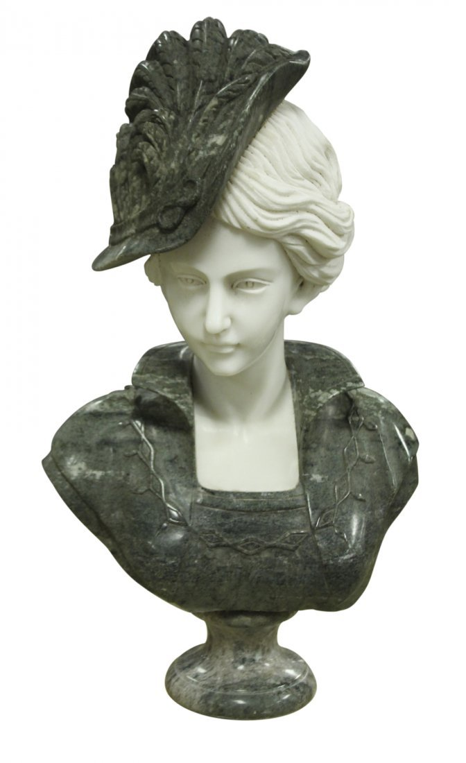 Carved Verde & White Marble Bust Of French Lady