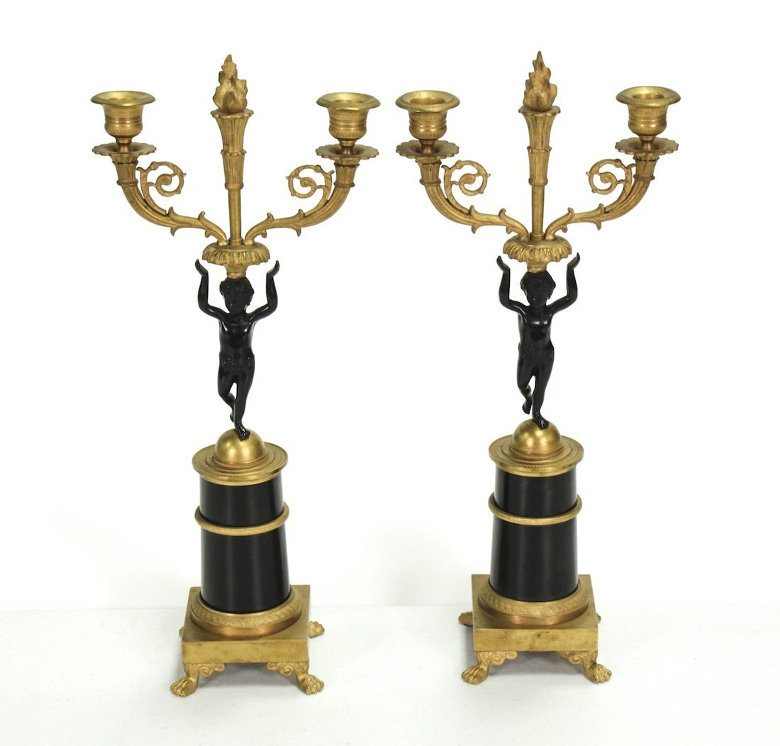 Pair 19th Century French Dore Bronze Candelabra