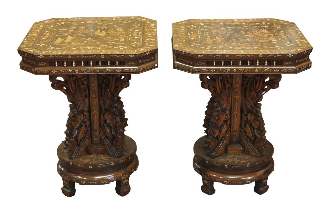 Important Pair Of Oriental Inlaid Side Tables