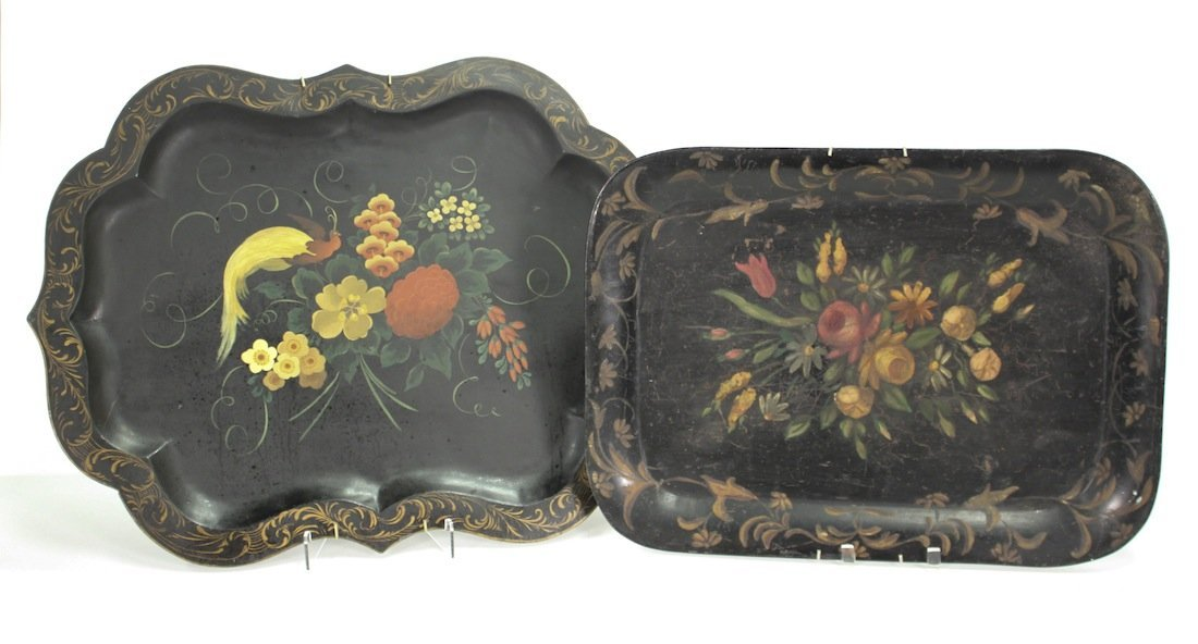 Two Antique English Hand-painted Toile Trays