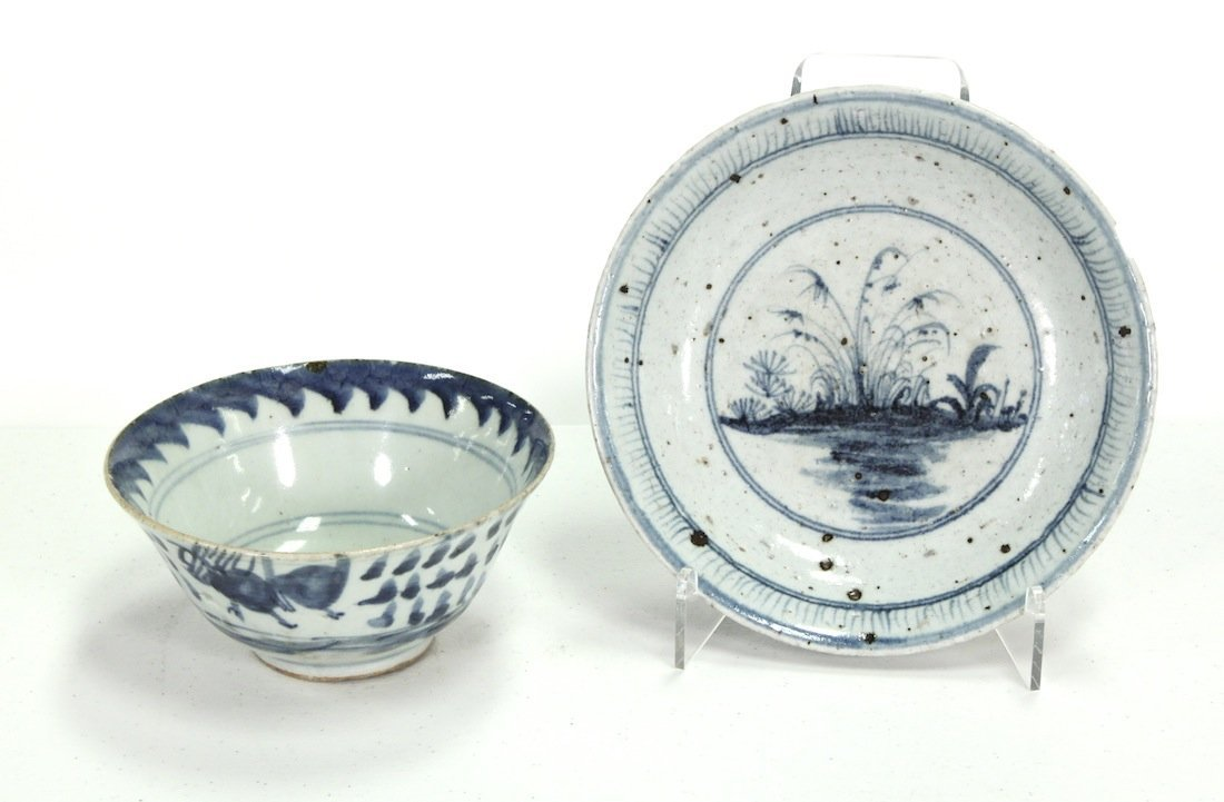 Two Chinese Export Blue And White Bowls