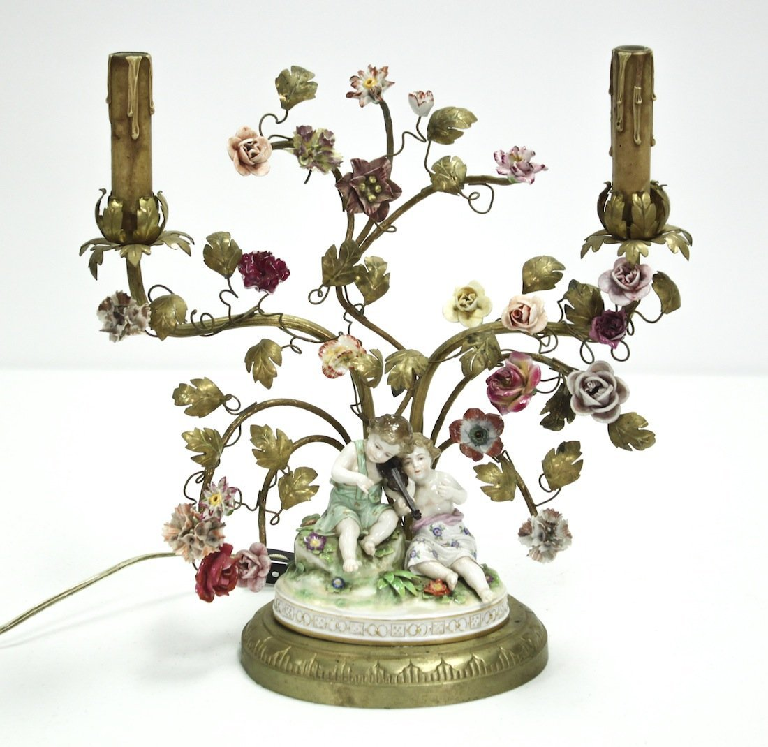 French bronze Lamp W/Dresden Flowers