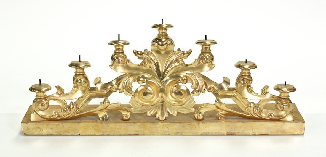 Italian Water Gilded 7 Light Altar Candleholder