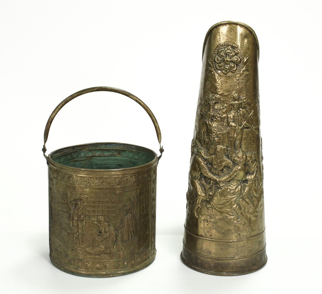 Antique English Brass And Lost Coal Bucket