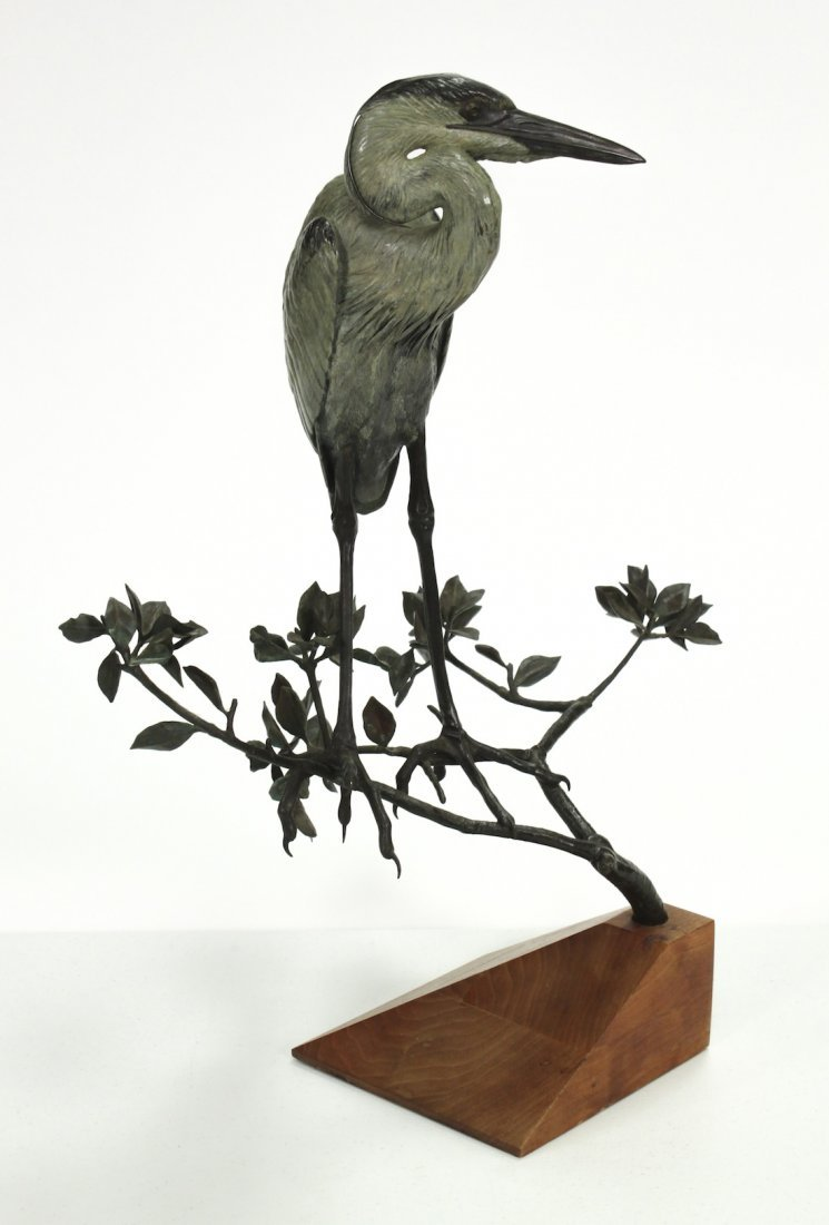 Contemporary Bronze Sculpture Of Heron