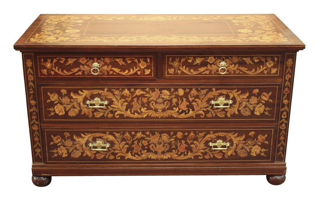 Fine Continental Marquetry Inlaid Commode