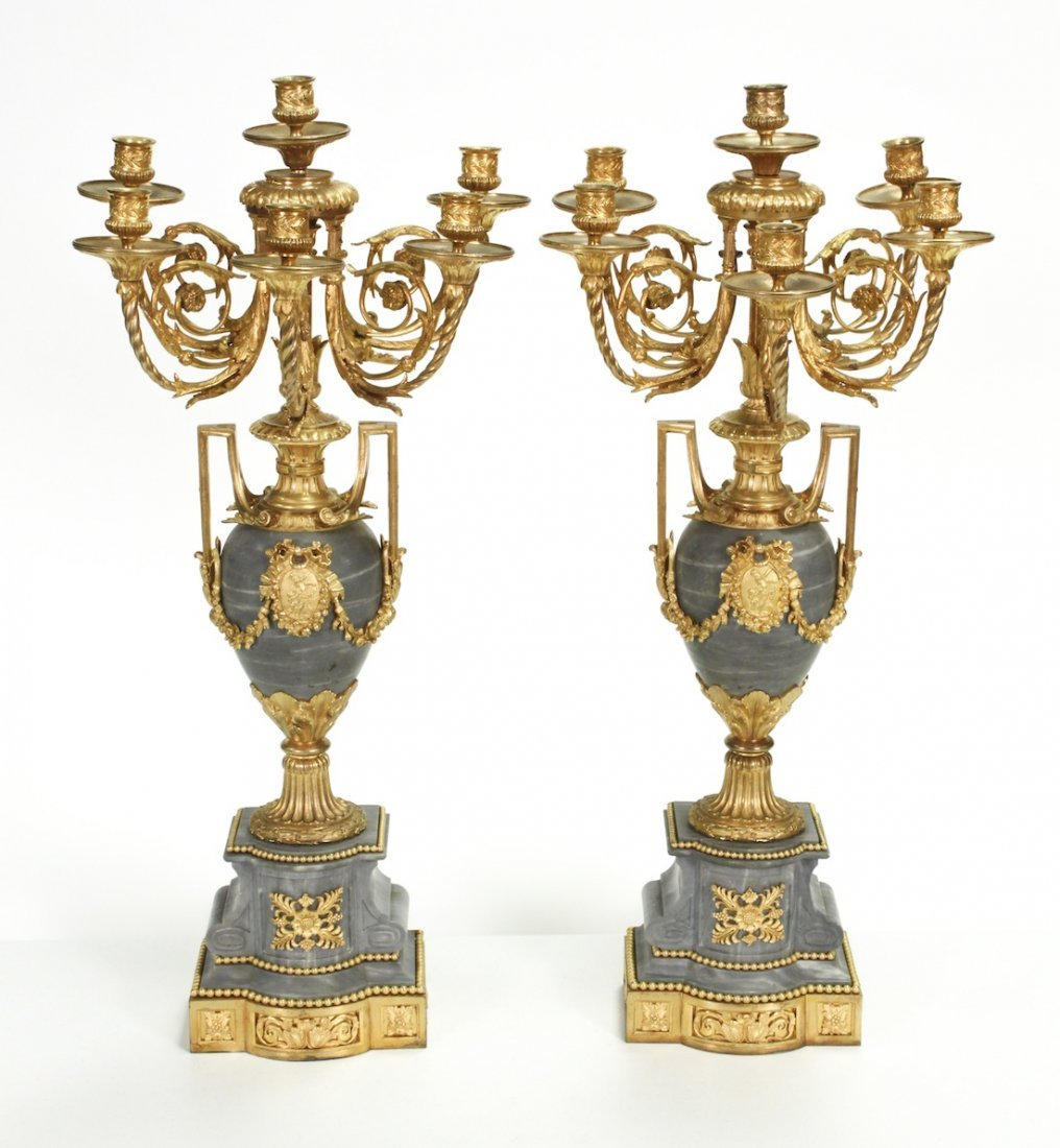 Important Pair French Bronze & Marble Candelaba