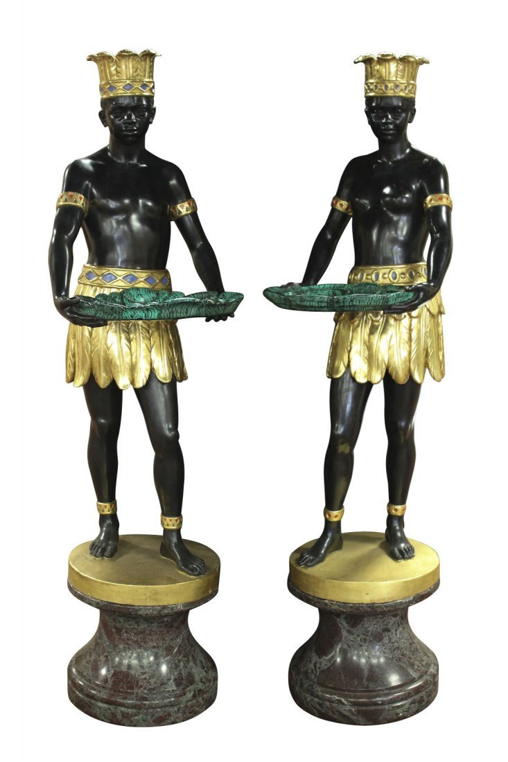 Palace Size Pair Of Cast Bronze Blackamoors