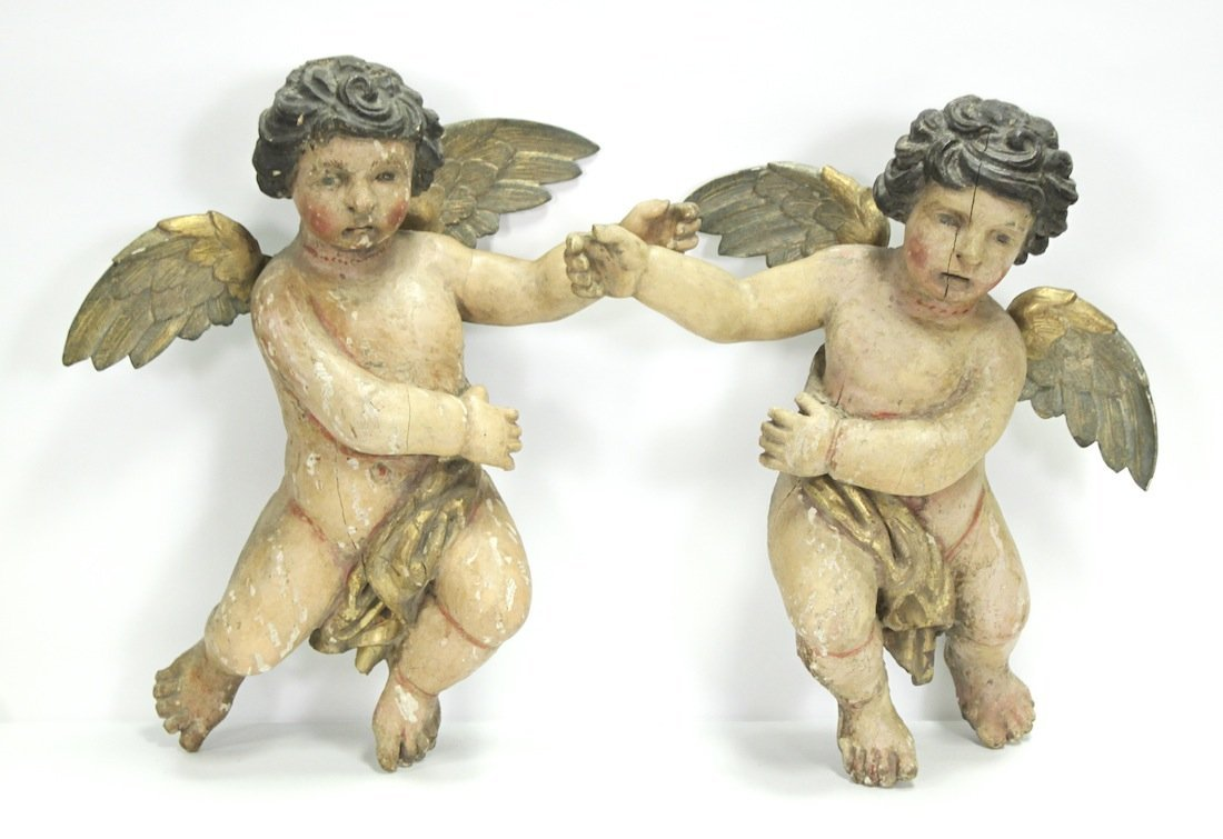 Pair Early 18th C. Italian Carved Wood Putti