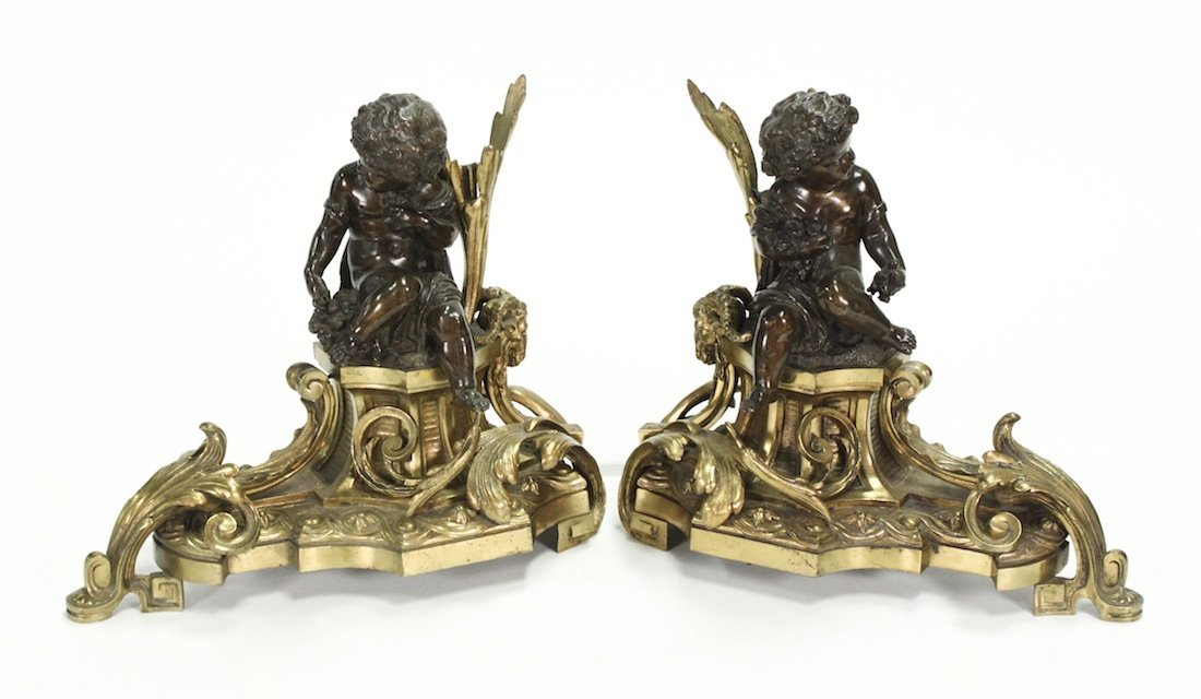 Important Pair Of 19th Century Bronze Chenet