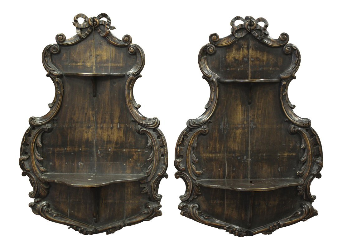 Pair Of 19th C. French Carved Wall Shelves