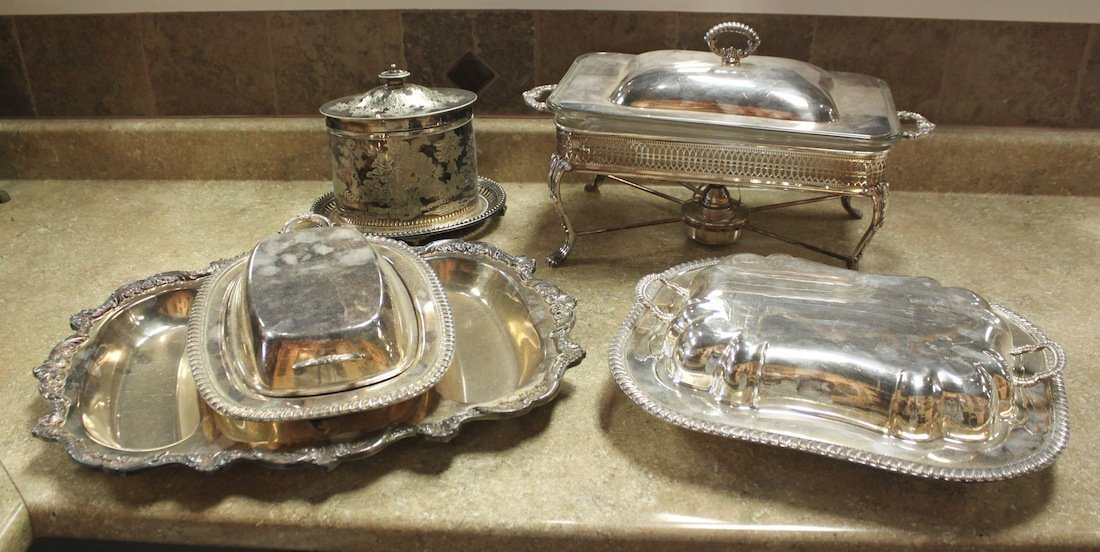 Group Of 5 Silverplated Serving Pieces